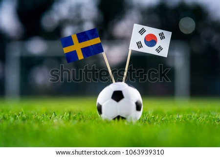 Sweden - Korea Republic, South Korea, Group F, Monday, 18. June, Football,  National Flags on green grass, white football ball on ground. #1063939310
