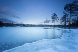 Sweden landscape winter lake