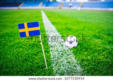 Sweden national Flag and football ball on green grass. Fans, support photo, edit space.   #1077530954