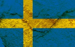 Sweden national flag icon isolated on weathered strong rock wall background, positive Swedish political concept texture wallpaper