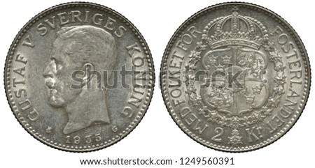 Sweden Swedish silver coin 2 two kronor 1935, regular issue, head of King Gustaf V left, royal arms, shield with crowns and lions surrounded by order chain,