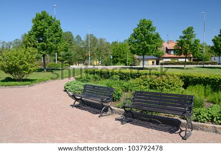 Swedish city park in spring season