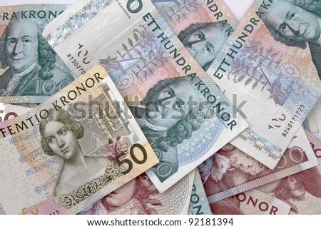 Swedish currency closeup on white background