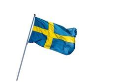 Swedish flag isolated on a white background. 6 June. Beautiful Swedish flag waving. Celebration. National Day of Sweden. Swedish Flag Day.