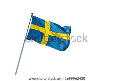 Swedish flag isolated on a white background. 6 June. Beautiful Swedish flag waving. Celebration. National Day of Sweden. Swedish Flag Day. Сток-фото ©