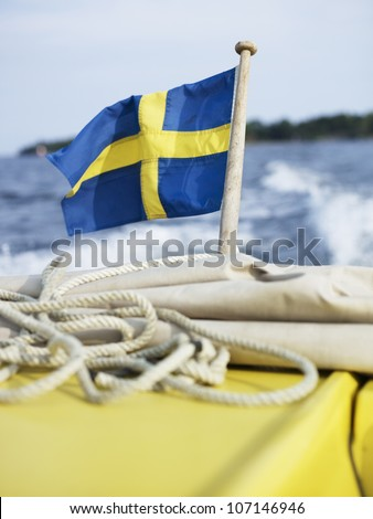 Swedish flag on ship
