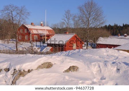 Swedish homestead in a winters surrounding