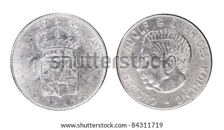 "Swedish 1 Krona aka ""Crown"" coin from 1969 with King Gustaf VI Adolf of Sweden."