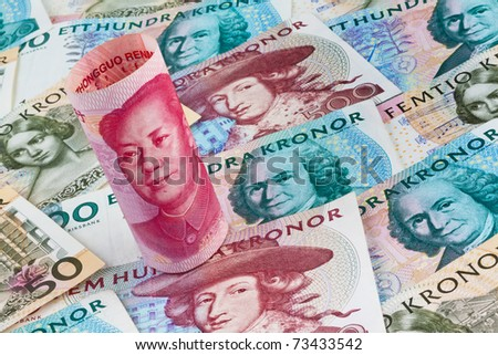 Swedish krona, the currency of Sweden. With Chinese yuan banknotes.
