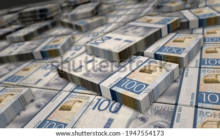 Swedish Krone money pack 3d illustration. 100 SEK banknote bundle stacks. Concept of finance, cash, economy crisis, business success, recession, bank, tax and debt in Sweden. Foto stock ©