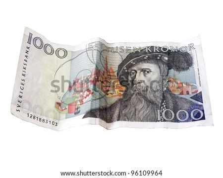 Swedish  1000 kronor closeup on white background.