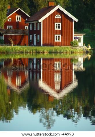 swedish lakeside - stock photo