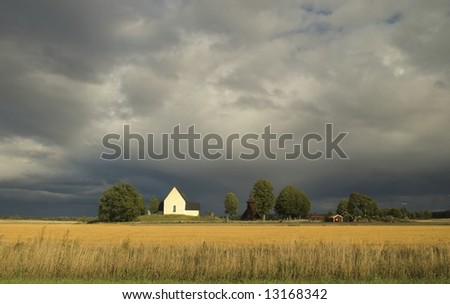 Swedish landscape with dramatic sky