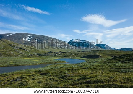 Swedish Lapland landscape. Arctic environment of Scandinavia in warm summer sunny day with blue sky. Alesjaure on Kungsleden and Nordkalottruta Arctic hiking Trail in northern Sweden Stock foto ©