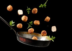 Swedish meatballs up from a pan