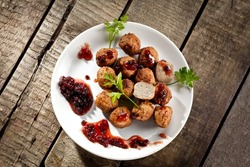 Swedish meatballs with cranberry jam, top view