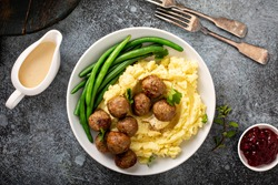 Swedish meatballs with mashed potatoes, gravy and lingonberry jam