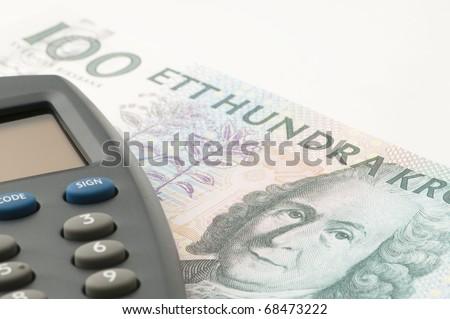 Swedish one hundred crona paper bills on white background.