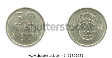 Swedish 50 Ore 1970 year coin. Coin shows a monogram of Swedish king Gustaf Adolf VI and Coat of arms of Sweden on the obverse.
