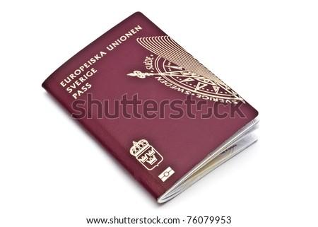 Swedish passport isolated on white background