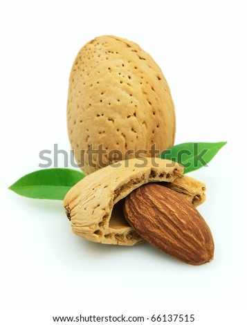Sweet almonds with leaves on a white background