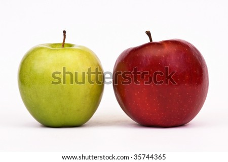 Sweet and beautiful green and red apples