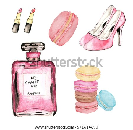 Sweet and fabulous macaroon and girls stuff with white background