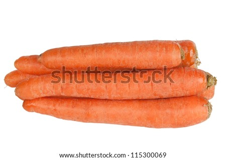 Sweet and fresh carrot on a white background