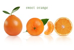 sweet and juicy orange on a white mirror background