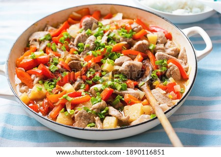 Sweet and sour Chinese chicken with pineapple, red pepper, chives Photo stock ©