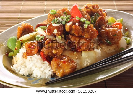 Sweet and sour pork and rice. Part of a series of nine Asian food dishes.