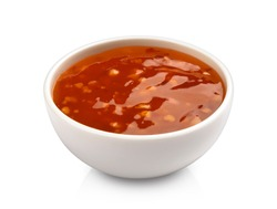 Sweet and sour sauce isolated on white background with clipping path