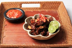 Sweet and Spicy Ayam Suwir, Chunky Chicken Breat with Palm sugar and Chilli