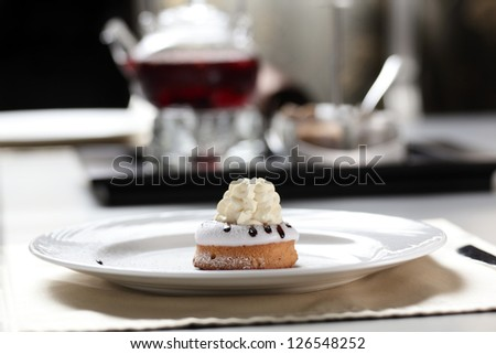 sweet and tasty cake on table in restaurant - stock photo