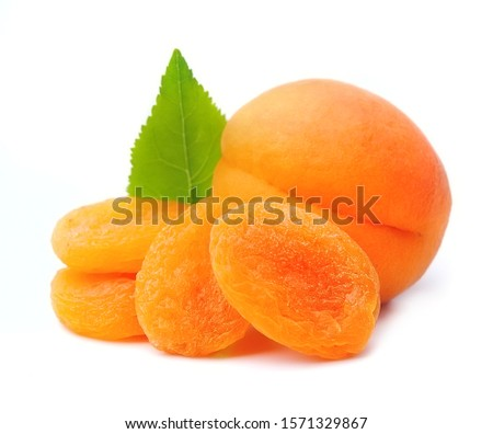 Sweet apricots and dried apricots isolated on white backgrounds. #1571329867