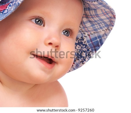 Sweet baby smiling. Isolated over white background