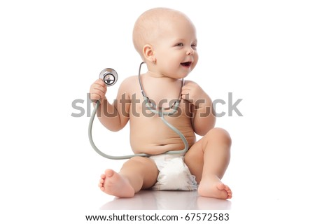 Sweet baby with stethoscope on a  white background.