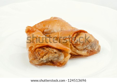 Sweet baklava on the plate