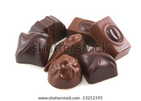 Sweet belgian chocolates isolated on a white background.