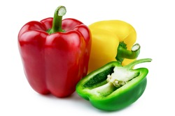 Sweet bell pepper for healthy on white background.Diet food and  vegan concept.Closeup with Clipping Path.