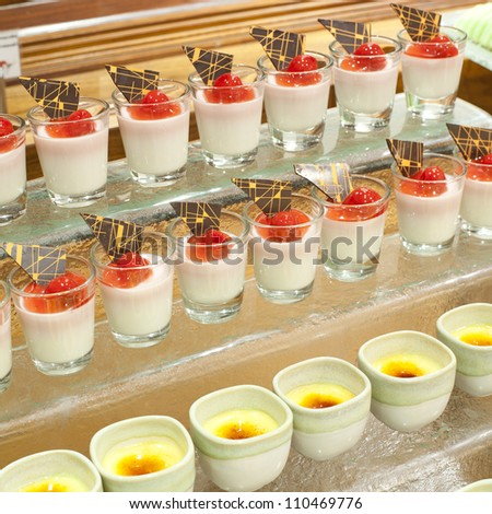 Sweet berry desserts waiting for restaurants guests