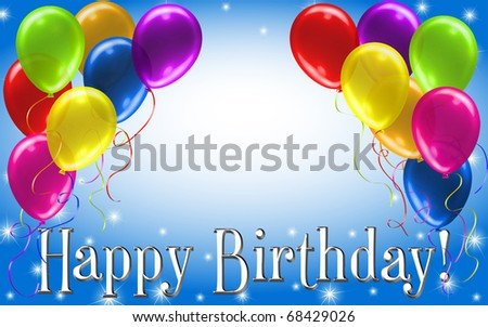happy birthday balloons and cake. happy birthday balloons and