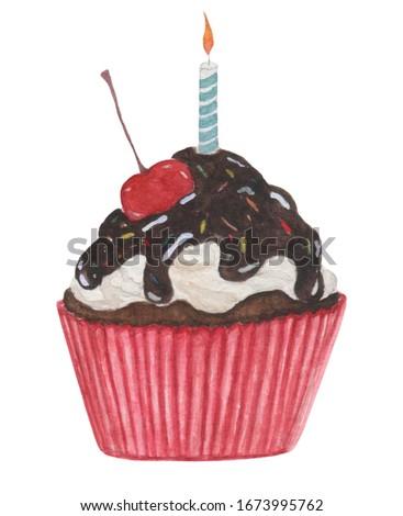 sweet birthday cupcake watercolor painting