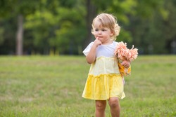 Sweet blond toddler girl with finger in mouth and knitted stuffed rag doll having fun walking outdoors on summer day