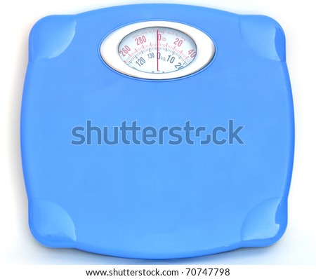 Sweet blue bathroom weight scale on white background - stock photo