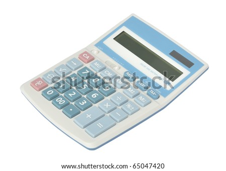 Sweet blue color calculator on white background
