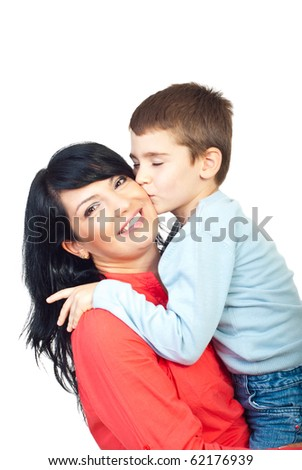 Sweet boy giving a warm kiss to his happy mother isolated on white background