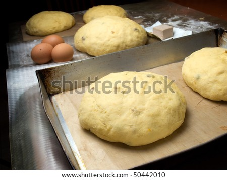 Sweet bread before placing in hot oven.