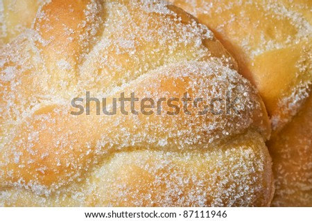 Sweet bread called (Pan de Muerto) enjoyed during Day of the Dead festivities in Mexico. The bread is usually a round shape and extra dough is used on top to fashion bone shapes across it. - stock photo