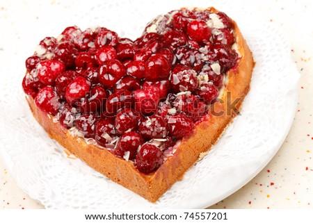 sweet cake in heart shape